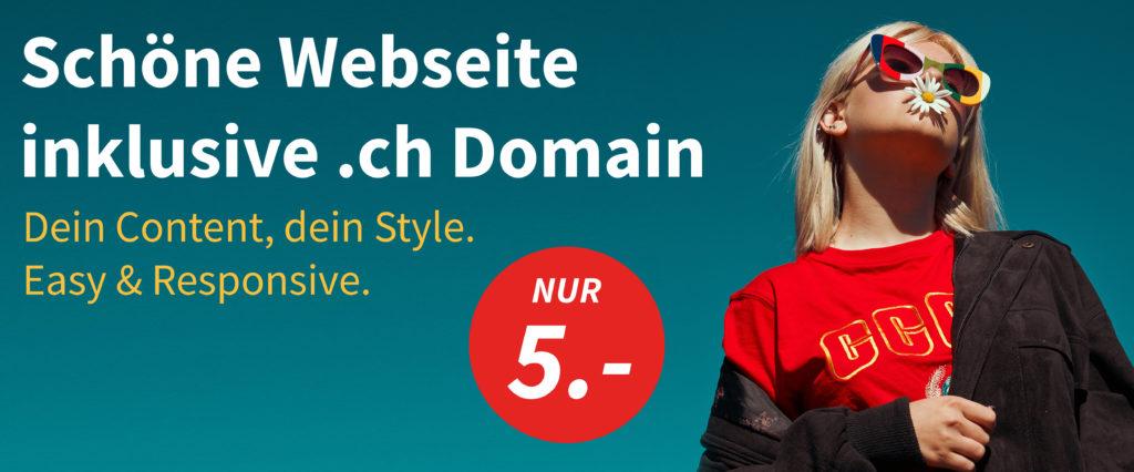 5 Franken für eine .ch Domain und eine schöne Webseite