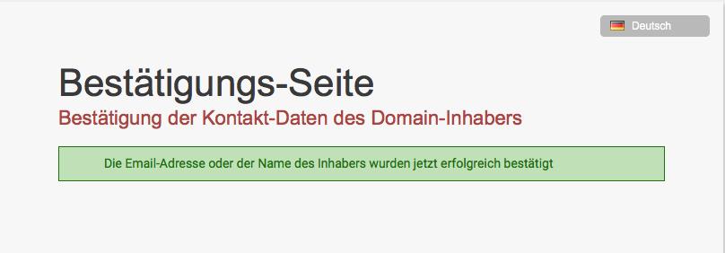 Domain Registrant Verifikation