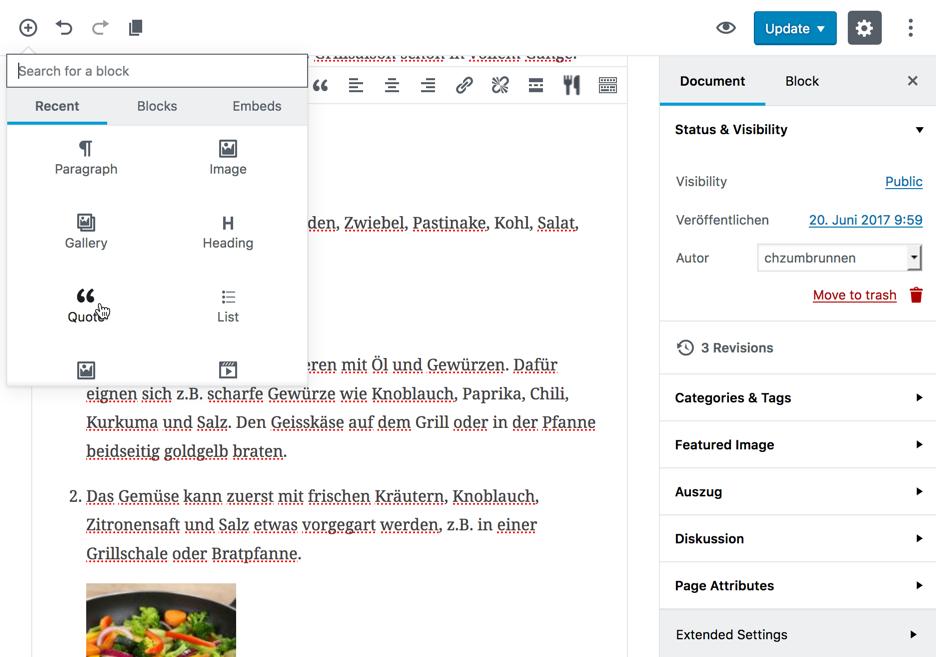 Der neue Gutenberg Editor in WordPress