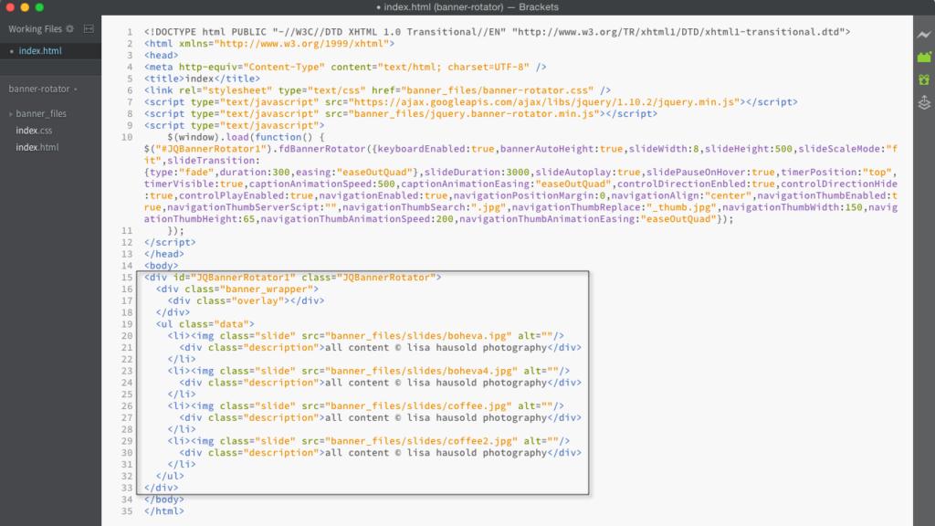 Original HTML des Scripts