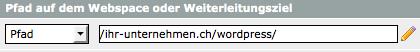 Das Startverzeichnis bei einer WordPress Installation in einem separaten Verzeichnis