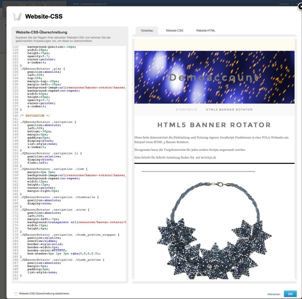 Website-CSS-Überschreibung in YOLA