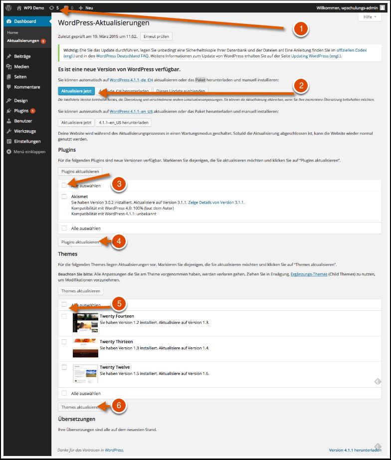 Einfach Updaten von WordPress, Plugins, Themes und Übersetzungen aus dem WordPress Dashboard