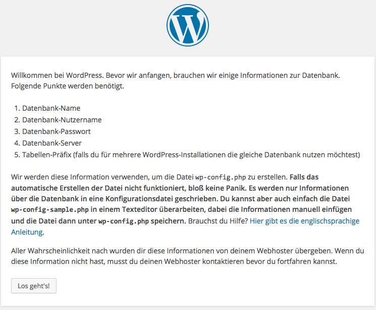 Vorbereitung zur Erstellung der wp-config.php