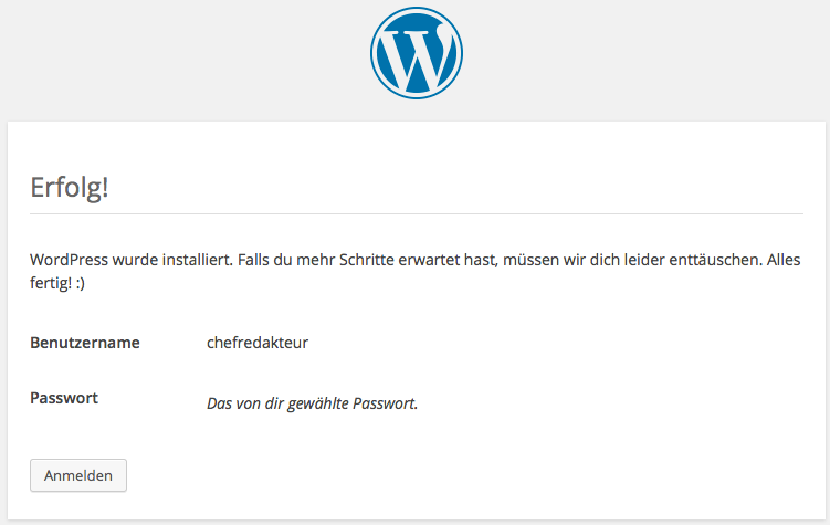 WordPress ist installiert