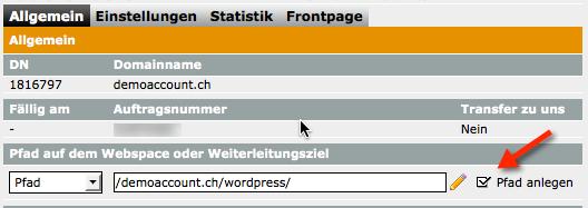 Pfad auf dem Webspace für WordPress