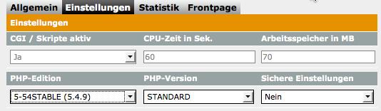 PHP-Einstellungen